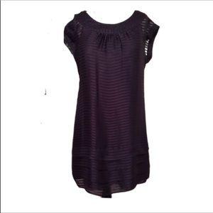 Banana Republic Black & Purple Striped Dress M